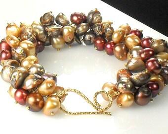 Pearl Bracelet, Brown Freshwater Cluster, Vermeil