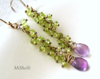 Peridot Tassel Earrings, Long Dangle Amethyst Earrings, Oxidized Sterling Silver, Cluster Dangles, Gift for Her, MiShelli