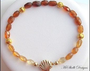 Hessonite Gemstone Bracelet, 18K, 14k Gold Sea Shell, Safety Clasp Bracelet, Gift for Her