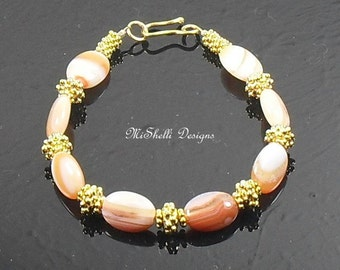 Orange Sardonyx Gold Vermeil Bracelet, Beaded, Ready to Ship