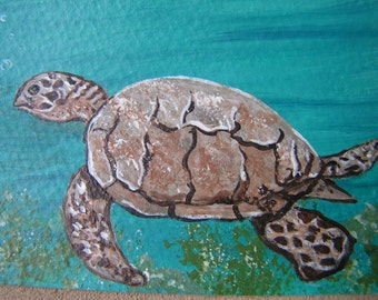 ACEO - Original Painting Sea Turtle