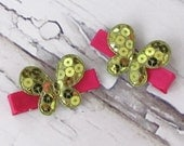 50% OFF - Entire Store - Set Of Two Pink And Green Butterfly Hair Clips
