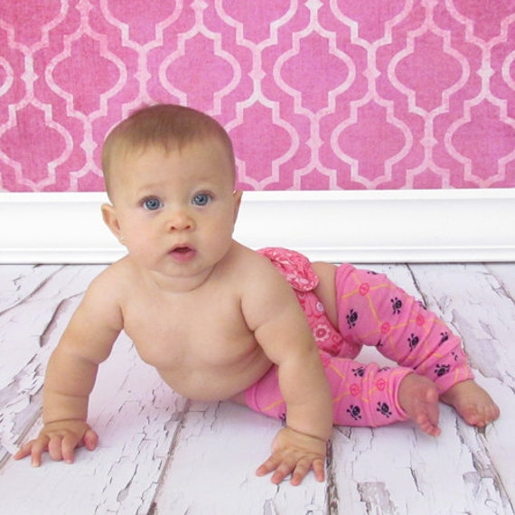 Baby Leg Warmers - Skulls On Pink - One Size