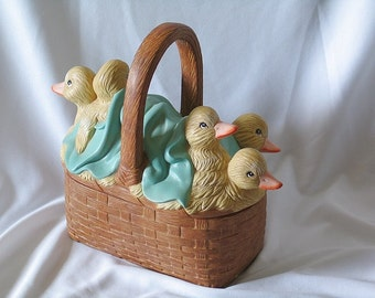 Baby Ducks on a ceramic basket