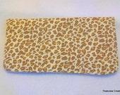 Checkbook Cover, Tan Leopard Print