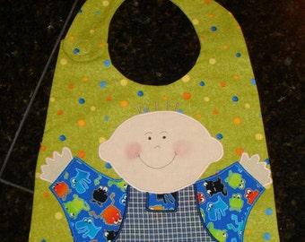 Handmade Baby Bib - Baby Boy Bib - Baby Shower Gift - Little Monster