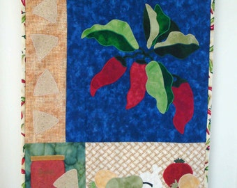 Chili Pepper, Chips and Salsa Quilt Wallhanging Handmade