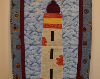 Lighthouse Quilt Wallhanging - Nautical, Seaside, Beach