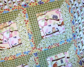 Owl Lap Quilt - Green, Pink, Forest Animals - Woodland Frolic Raccoon, Squirrel, Chipmunk, Opossum