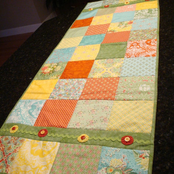 Flora Quilted Table Runner or Topper - Green, Coral, Yellow and Blue