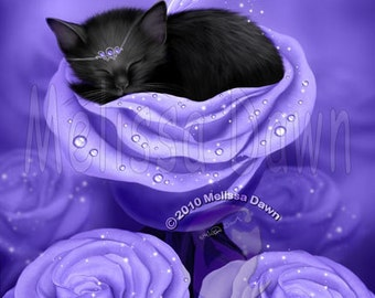 Black Cat Art Print // Sleeping Kitten //  Lilac Daydreams