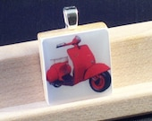 Scrabble Tile Pendant- Red Vespa
