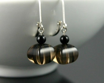 Pillow Square Smoky Quartz Earrings