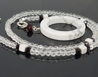 Howlite Necklace with Clear Quartz and Swarovski Crystals - 17 inches