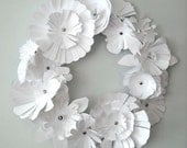 Paper Floral Wreath-White