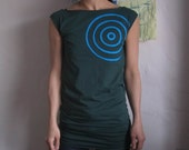 women's forest tunic with turquoise circles