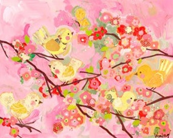 pink and yellow cherry blossom birdies