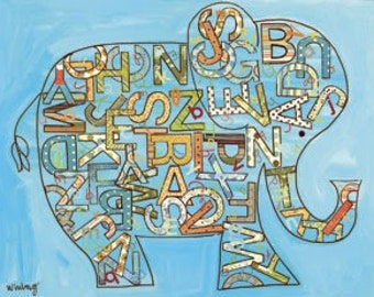Blue Alphabet Elephant