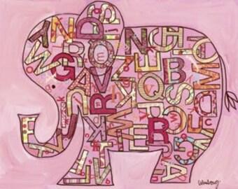 Pink Alphabet Elephant