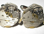 Very Industrial Looking Steampunk Watch Movement Cuff Links FREE SHIPPING