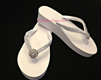 Bridal Wedge Flip Flops - Wedding Beach Shoes - Platform Flip Flops - Bridal Flip Flops Ivory -  Rhinestone Flip Flops - Beach Wedding