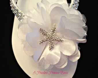 Wedding Flip Flops - Bridal Flip Flops Wedge - Starfish Flip Flops - Platform Flip Flops - Bridal Sandals - Beach Wedding - Custom Colors