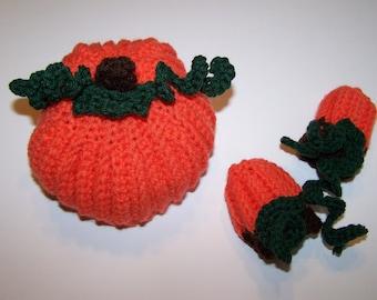 Newborn Pumpkin Hat and Mittens Set PDF Pattern