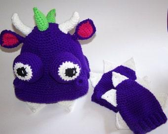Toddler Dragon Hat and Mittens Set PDF Pattern