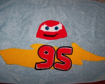 Race Car Hat and Scarf Set for Toddlers PDF Pattern