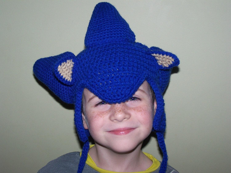 Knitting Pattern Sonic Hedgehog : Sonic the Hedgehog Earflap Hat