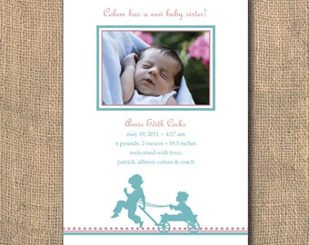 Wagon Pull Baby Announcement - 5x7 PRINTABLE