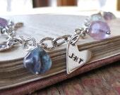 sterling family charm bracelet - choose flourite or labradorite