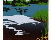 Northwoods Pond - Original Color-Reduction Woodcut