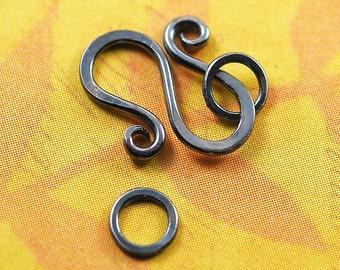 Oxidized Handmade Silver S Hook with Jumprings -  18 gauge
