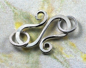 Handmade Sterling Silver S Hook Clasps with Jumprings, 18 gauge: Two (2) Clasps