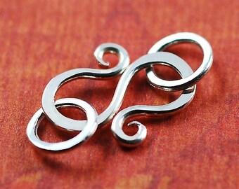 Handmade Sterling Silver S Hook Clasp with Jumprings - 20 gauge