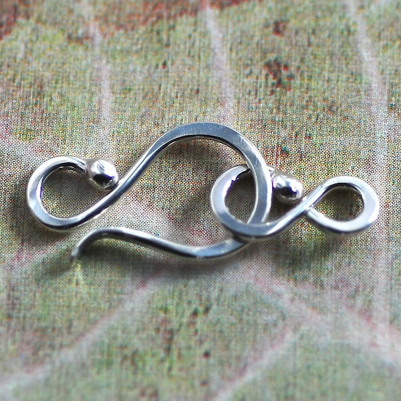 Sterling Silver Balled End Handmade Hook and Clasp - 18 gauge