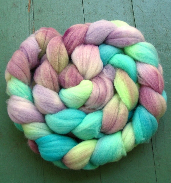 She's Cosmic - Corriedale wool top\/roving - 4.25 ounces