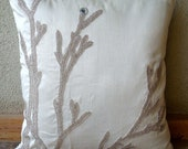 Silver Willow - Throw Pillow Covers - 20x20 Inches Silk Pillow Cover with Bead Embroidery