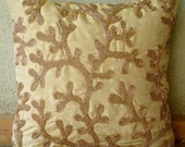 Coral Shine - Euro Sham Covers - 26x26 Inches Silk Euro Sham Cover with Gold Beads