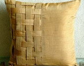Decorative Throw Pillow Covers Couch Pillow Sofa 16 Inch Silk Pillow Cover with Basket Weave Gold Brown Bricks Home Living Decor Housewares