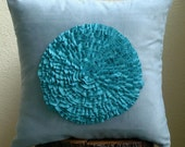 Decorative Throw Pillow Covers Accent Pillow Couch Sofa Toss Pillows 18x18 Blue Suede Pillow Case with Turquoise Frill Flower Vintage Mist
