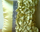 Diamonds N Ruffles - Throw Pillow Covers - 18x18 Inches Satin Pillow cover with Ruffles and Crystals