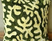 Coral Greens - Throw Pillow Covers - 18x18 Inches Silk Pillow Cover with Satin Ribbon Embroidery