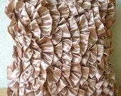 Vintage Peach - Euro Sham Covers - 26x26 Inches Satin Euro Sham Cover with Ruffles