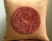"Luxury Rust Decorative Pillow Cover, 16""x16"" Faux Suede Pillowcase, Square  Vintage Style Frills Medallion Pillow Cases - Vintage Rust"