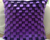 "Luxury Purple Cushion Covers, 16""x16"" Faux Suede Pillowcase, Square  Pintucks & Ribbon Loops Pillows Cover - Purple Harmony"