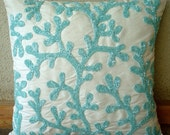 """Luxury Aqua Blue Throw Pillows Cover, 16""""x16"""" Silk Pillow Covers, Square  Sea Weeds Beach And Ocean Theme Pillows Cover - Sea Weeds"""