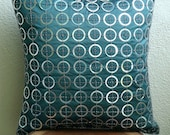 "Luxury Teal Blue Accent Pillows, Metallic Sequins Pillows Cover Square  18""x18"" Silk Pillowcase - Teal N Silver Rings"