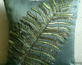 Decorative Throw Pillow Covers Accent Pillow Couch Sofa Toss Pillows 18x18 Green Silk Pillow Case Green Sequins Embroidered Floating Leaf